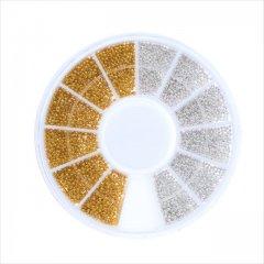 ブリオン ゴールド シルバー 2色セット/ケース付き ネイル アクセサリー デコ/UVレジン 素材 材料 パーツ