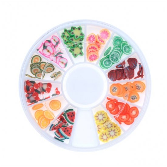 スライスパーツ フルーツ 12種類セット/ケース付き/ネイル アクセサリー デコパーツ/果物 スライス棒 カット済み