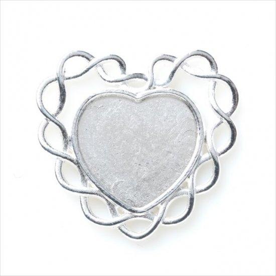 シルバー ミール皿 1枚/華状 花 ハート 銀 s29/セッティング レジン アクセサリーパーツ