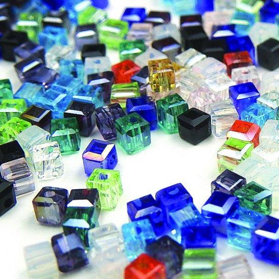 キューブ型 ガラスビーズ 3mm ミックス ...