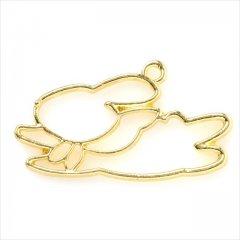 レジン空枠 ゴールド 1枚 tg01 金 ウサギ 兎 ジャンプ フレーム カン付き レジン アクセサリー パーツ 枠 型枠 モールド チャーム セッティング ピアス ネックレス 素材 材料 金具 手芸