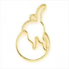 レジン空枠 ゴールド 1枚 tg02 金/猫 ネコ 後ろ姿/フレーム チャーム ハンドメイド パーツ