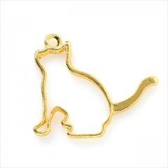 レジン空枠 ゴールド 1枚 tg03 金 猫 ネコ 横向き フレーム カン付き レジン アクセサリー パーツ 枠 型枠 モールド チャーム セッティング 台座 ハンドメイド ピアス ネックレス 金具