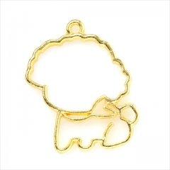 レジン空枠 ゴールド 1枚 tg04 金/犬 大きい顔 もこもこ/フレーム チャーム ハンドメイド パーツ