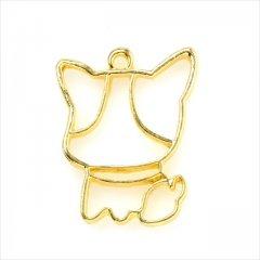 レジン空枠 ゴールド 1枚 tg05 金/犬 大きい顔/フレーム チャーム ハンドメイド パーツ