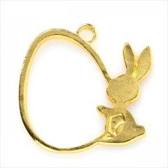 レジン空枠 ゴールド 1枚 tg06 金/ウサギ 兎 持ってるフレーム チャーム ハンドメイド パーツ