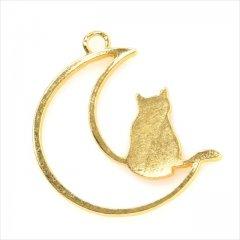 レジン空枠 ゴールド 1枚 tg07 金/猫 ネコ 三日月 月/フレーム チャーム ハンドメイド パーツ