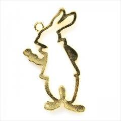 レジン空枠 ゴールド 1枚 tg08 金 ウサギ 兎 立ち姿 フレーム カン付き レジン アクセサリー パーツ 枠 型枠 モールド チャーム セッティング ハンドメイド ネックレス ペンダント 金具