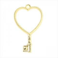 レジン空枠 ゴールド 1枚 tg12 金/ハート 鍵 キー/フレーム チャーム ハンドメイド パーツ