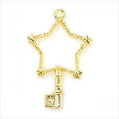 レジン空枠 ゴールド 1枚 tg13 金/星 スター 鍵 キー/フレーム チャーム ハンドメイド パーツ