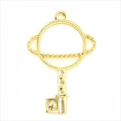 レジン空枠 ゴールド 1枚 tg15 金/土星 鍵 キー/フレーム チャーム ハンドメイド パーツ