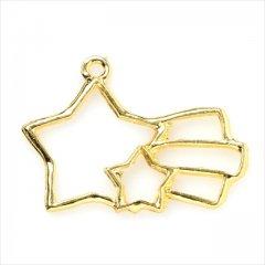 レジン空枠 ゴールド 1枚 tg17 金 流れ星 宇宙 フレーム カン付き レジン アクセサリー パーツ 枠 型枠 モールド チャーム セッティング ピアス イヤリング ネックレス 素材 材料 金具