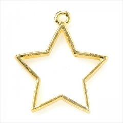 レジン空枠 ゴールド 1枚 tg18 金/星 スター 宇宙/フレーム チャーム ハンドメイド パーツ