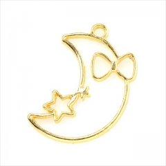 レジン空枠 ゴールド 1枚 tg19 金/三日月 星 リボン/フレーム チャーム ハンドメイド パーツ