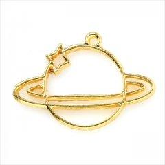 レジン空枠 ゴールド 1枚 tg20 金/土星 星 宇宙/フレーム チャーム ハンドメイド パーツ