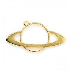 レジン空枠 ゴールド 1枚 tg21 金/土星 宇宙 大きめ/フレーム チャーム ハンドメイド パーツ