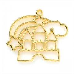 レジン空枠 ゴールド 1枚 tg34 金/キャッスル 城 メルヘン/フレーム チャーム ハンドメイド パーツ