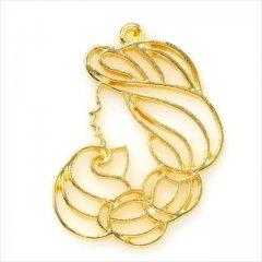レジン空枠 ゴールド 1枚 tg35 金/女性 横顔 プリンセス/フレーム チャーム ハンドメイド パーツ