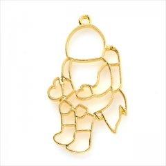 レジン空枠 ゴールド 1枚 tg36 金/宇宙飛行士 ロケット/フレーム チャーム ハンドメイド パーツ