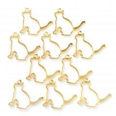レジン空枠 ゴールド 10枚セット tg03 金/猫 ネコ 横向き/フレーム チャーム ハンドメイド パーツ