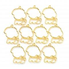 レジン空枠 ゴールド 10枚セット tg04 金/犬 大きい顔 もこもこ/フレーム チャーム ハンドメイド パーツ