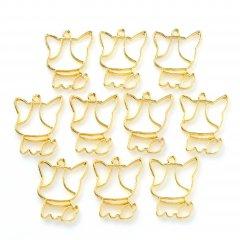 レジン空枠 ゴールド 10枚セット tg05 金/犬 大きい顔/フレーム チャーム ハンドメイド パーツ