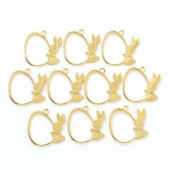 レジン空枠 ゴールド 10枚セット tg06 金/ウサギ 兎 持ってるフレーム チャーム ハンドメイド パーツ