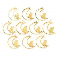レジン空枠 ゴールド 10枚セット tg07 金/猫 ネコ 三日月 月/フレーム チャーム ハンドメイド パーツ