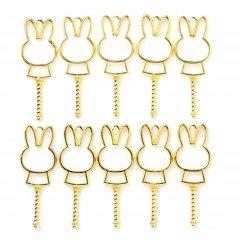 レジン空枠 ゴールド 10枚セット tg09 金/ウサギ 兎 ステッキ/フレーム チャーム ハンドメイド パーツ