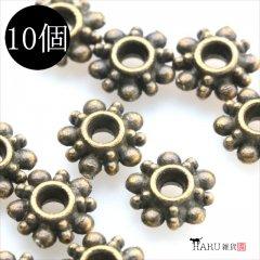 メタルビーズ 10個セット c1/リング状 フラワー 花 アクセサリーパーツ/ロンデル 金具 (アンティーク(金古美))