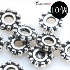 メタルビーズ 10個セット a2/フラワー 花状 アクセサリーパーツ/ロンデル 金具 シルバービーズ (シルバー(銀))