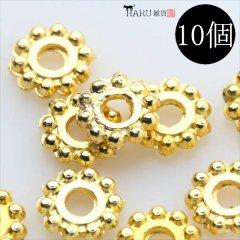 メタルビーズ 10個セット a3/フラワー 花状 アクセサリーパーツ/ロンデル 金具 シルバービーズ (ゴールド(金))