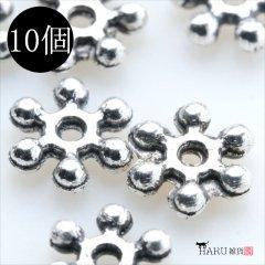 メタルビーズ 10個セット b2/リング フラワー アクセサリーパーツ/ロンデル 金具 シルバービーズ (シルバー(銀))