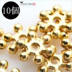 メタルビーズ 10個セット b3/リング フラワー アクセサリーパーツ/ロンデル 金具 シルバービーズ (ゴールド(金))