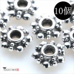 メタルビーズ 10個セット c2/リング状 フラワー 花 アクセサリーパーツ/ロンデル 金具 シルバービーズ (シルバー(銀))