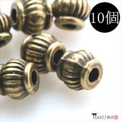 メタルビーズ 10個セット e1/筒状 楕円 丸め アクセサリーパーツ/ロンデル 金具 シルバービーズ (アンティーク(金古美))