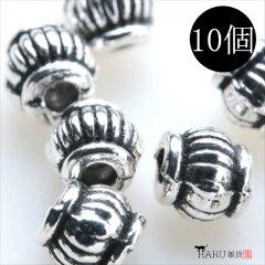メタルビーズ 10個セット e2/筒状 楕円 丸め アクセサリーパーツ/ロンデル 金具 シルバービーズ (シルバー(銀))