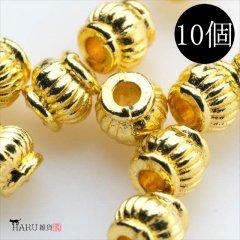 メタルビーズ 10個セット e3/筒状 楕円 丸め アクセサリーパーツ/ロンデル 金具 シルバービーズ (ゴールド(金))