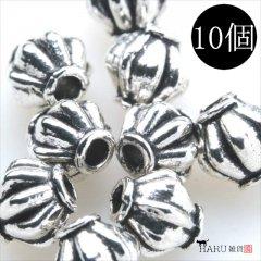 メタルビーズ 10個セット f2/ボール 樽状 アクセサリーパーツ/副資材 金具 シルバービーズ (シルバー(銀))