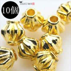 メタルビーズ 10個セット f3/ボール 樽状 アクセサリーパーツ/副資材 金具 シルバービーズ (ゴールド(金))