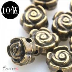 メタルビーズ 10個セット g1/フラワー 花状 アクセサリーパーツ/ロンデル 金具 シルバービーズ (アンティーク(金古美))