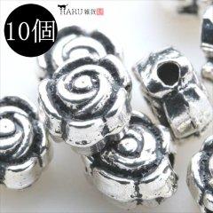 メタルビーズ 10個セット g2/フラワー 花状 アクセサリーパーツ/ロンデル 金具 シルバービーズ (シルバー(銀))