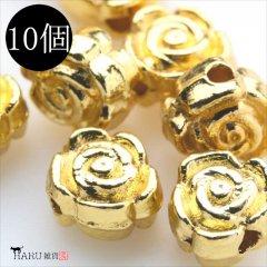 メタルビーズ 10個セット g3/フラワー 花状 アクセサリーパーツ/ロンデル 金具 シルバービーズ (ゴールド(金))