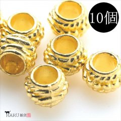 メタルビーズ 10個セット h3/ボール状 穴大きめ アクセサリーパーツ/ロンデル 金具 シルバービーズ (ゴールド(金))
