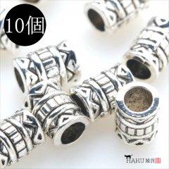 メタルビーズ 10個セット i2/筒状 アクセサリーパーツ/ロンデル 金具 シルバービーズ (シルバー(銀))