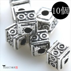 メタルビーズ 10個セット j2/サイコロ 小 四角 アクセサリーパーツ/ロンデル 金具 シルバービーズ (シルバー(銀))