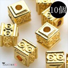 メタルビーズ 10個セット j3/サイコロ 小 四角 アクセサリーパーツ/ロンデル 金具 シルバービーズ (ゴールド(金))