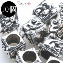 メタルビーズ 10個セット k2/サイコロ 大 キューブ アクセサリーパーツ/ロンデル 金具 シルバービーズ (シルバー(銀))