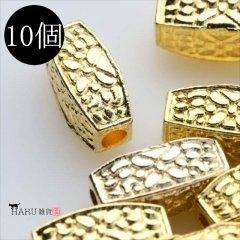 メタルビーズ 10個セット l3/筒状 四角 丸め アクセサリーパーツ/ロンデル 金具 シルバービーズ (ゴールド(金))