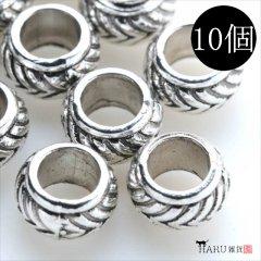 メタルビーズ 10個セット m2/丸め 穴大きめ アクセサリーパーツ/ロンデル 金具(シルバー(銀))